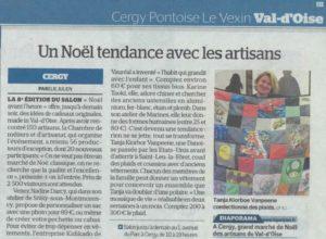 """Article dans Le Parisien """"Un Noël tendance avec les artisans"""""""