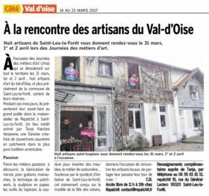 """Article """"A la rencontre des artisans du Val d'Oise"""""""