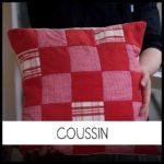 Coussin personnalisé en patchwork chez Repatchit