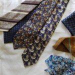 Les cravates de son defunt mari, que la veuve m'a confié pour créer des coussins