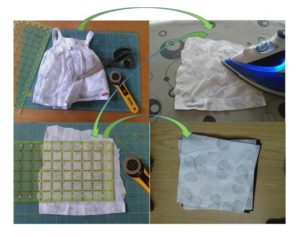 Schéma montrant la récupération du tissu utilisable sur un vêtement à utiliser dans un patchwork personnalisé