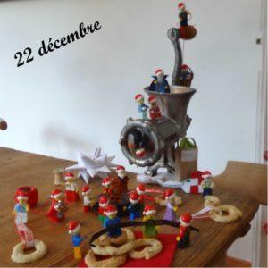22 décembre, les lutins Lego aident à faire des vanillekranse