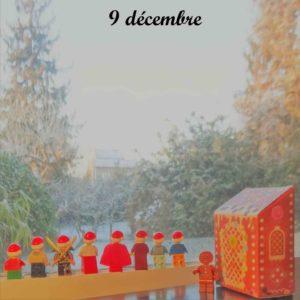 9 décembre, il a neigé à Saint Leu et un bonhomme en pain d'epice est apparu avec sa maison