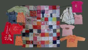 """Montage démontrant où on retrouve des vêtements utilisé sur un plaid personnalisé de type """"Souvenirs d'enfance"""""""