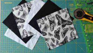 Carrés de tissus découpés pour faire du patchwork personnalisé