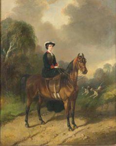 L'impératrice Eugénnie à chevaal. Portrait par Carl Friederich Kiørboe.