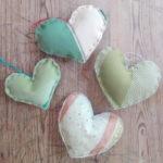 4 coeurs en tissus recyclés