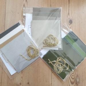 Différents couleurs du kit pour faire des coupelles apéros individuelles en faux cuir